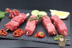 Achat direct producteur brochette de bœuf nature